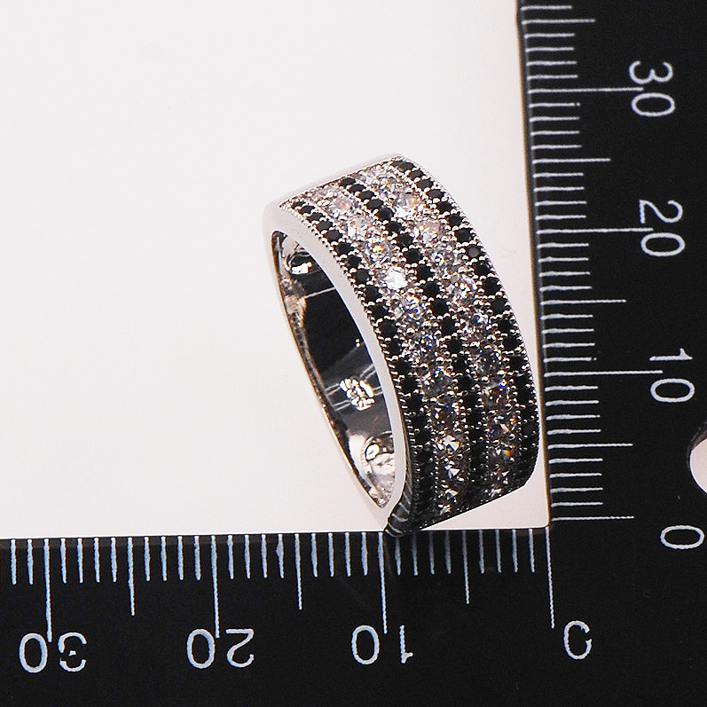 Black Crystal Zircon White Crystal Zircon 925 Sterling Silver Woman Ring Size 5 6 7 8 9 10 11 12 F586 Wholesale Jewelry