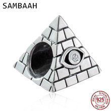 Sambaah 925 Antique Sterling Silver Egyptian Pyramid with Eye Charm Beads fit Original Pandora Travel Holiday Bracelet CWS0186 цена