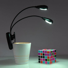 1PC USB Charging 2 Dual Arm 4 LED Lamp Clip On Light For Book Reading Tablet Laptop Flexible Book Lights(China)