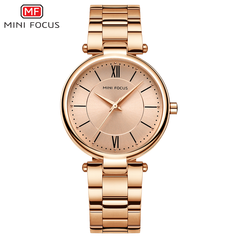MINI FOCUS Women's Stainless Steel Quartz Watches Analogue Waterproof Wrist Watch Lady Woman Retro Roman Numerals MF0189L Rose