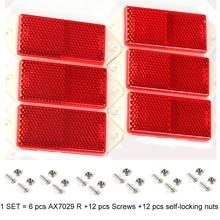 6 قطعة AOHEWE الأحمر مستطيلة العاكس مع المسمار E C E موافقة تعكس قطاع ل مقطورة شاحنة لوري حافلة RV قافلة الدراجة
