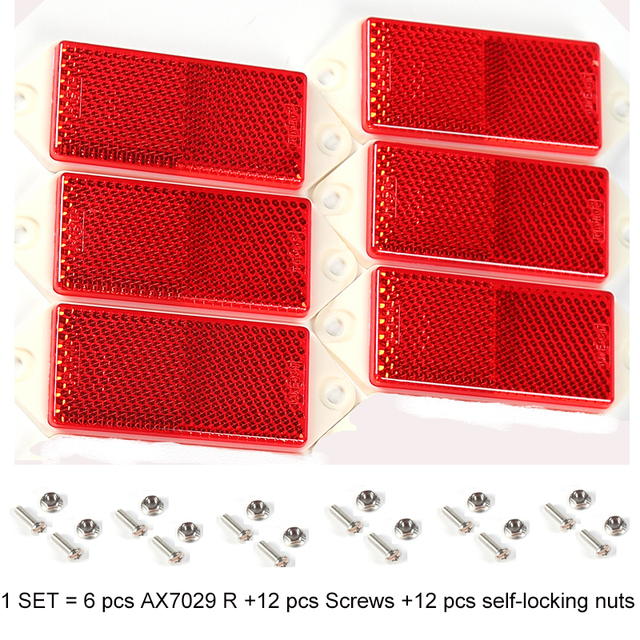 6 PCS AOHEWE red rectangular reflector  with screw E C E Approval reflect strip for trailer truck lorry bus RV caravan bike