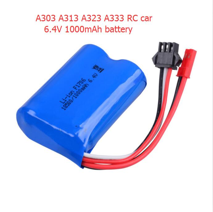 все цены на New 2pcs or 3pcs Free shipping 6.4V 1000mAh Lipo Battery For Wltoys A303 A313 A323 A333 RC Car spare parts battery accessory
