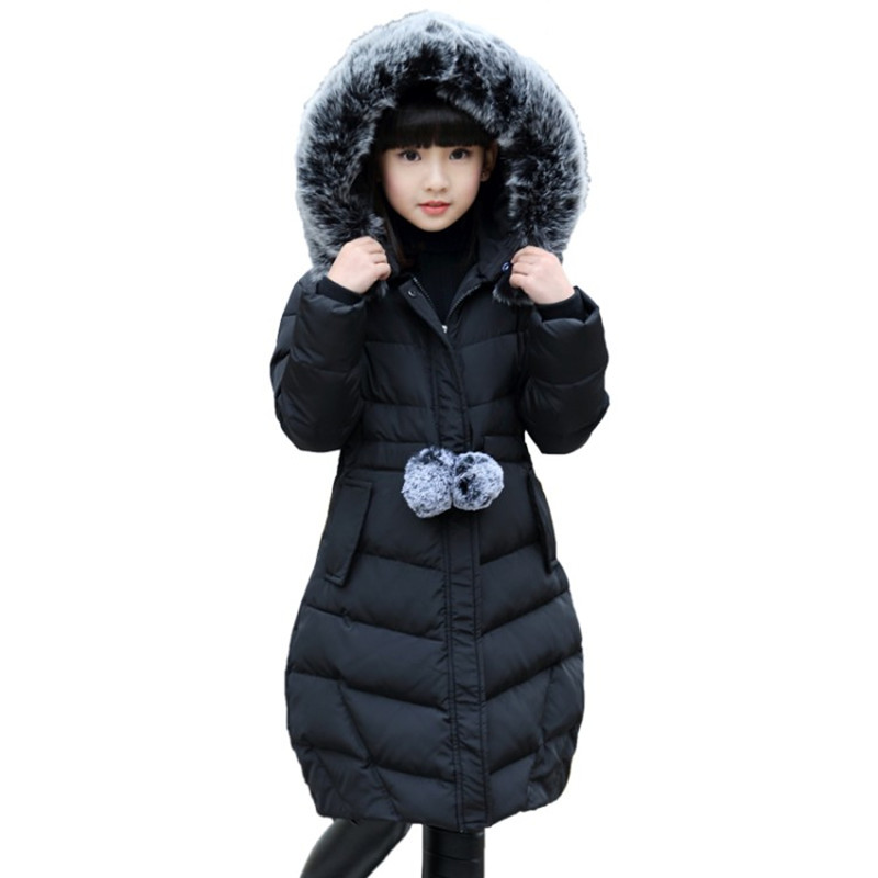 2017 Girls Hooded Coat Kid Winter Cotton Warm Thicken Fur Collar Christmas Girl School Cute Outerwear  Toddler Princess Jacket 2017 winter kid super large raccoon fur collar jacket girls pink hooded cotton jacket high quality kids thick warm coat 17n1120