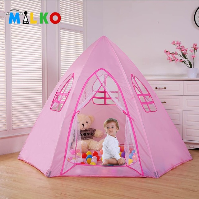 Safety Kids Tipi Children Tee Toy Baby Pink Play Tent Ball Pit Playpens House Portable Yurt Tente Enfant Lodge Christmas Gift