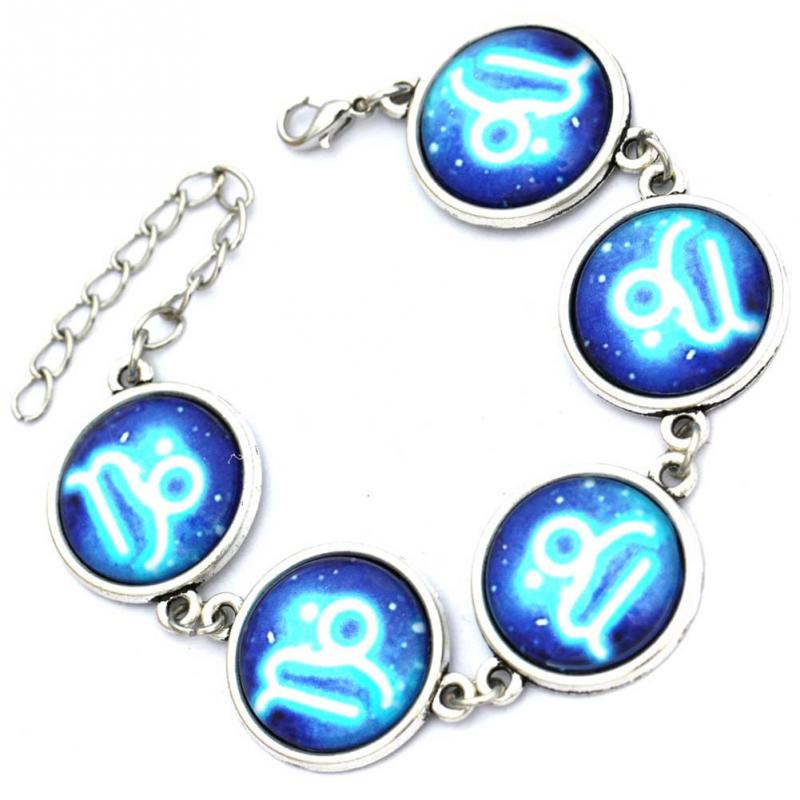 Fashion Adjustable 12 Constellation Alloy Bracelet Gift for Classmates Friends