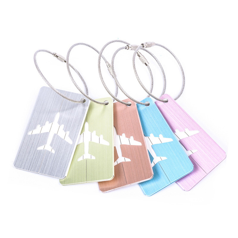 Airplane Shape Brushed Square Luggage Tag Luggage Checked Boarding Elevators travel accessories luggage tag for girls /boys 1pc image