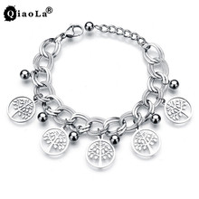 Qiao La Stainless Steel Life Of Tree Link floating locket Bracelets Fine Jewelry hollowing Pendants Bracelet For Couples L4011