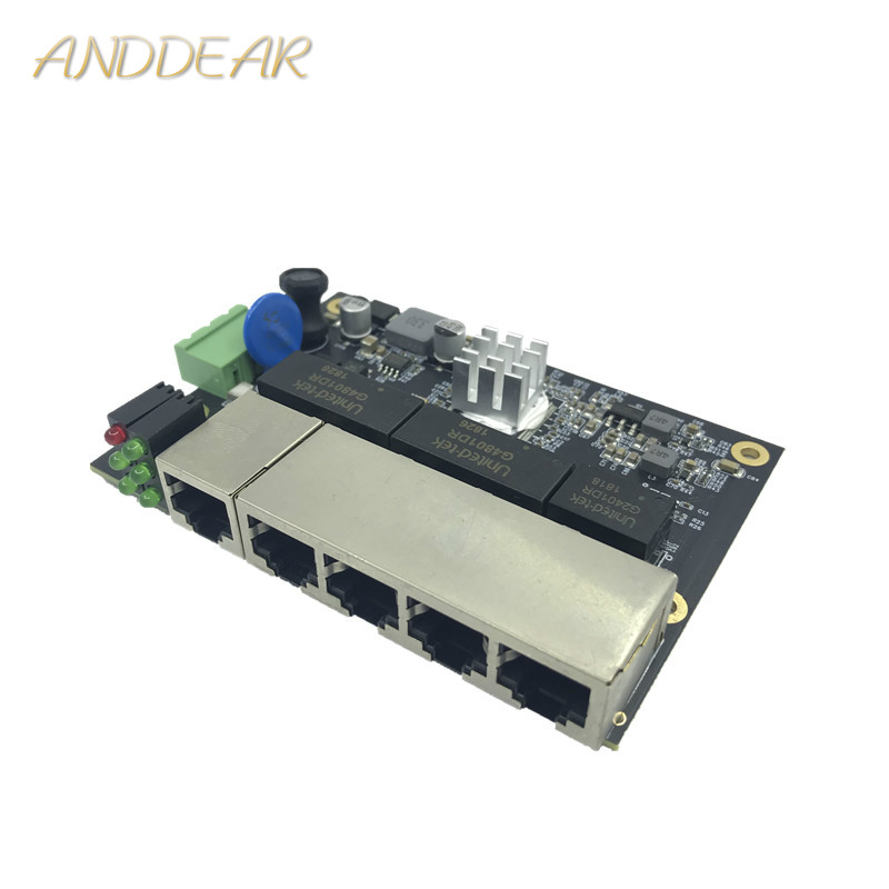 Ethernet Switch Module 5 Ports Unmanaged10/100/1000mbps Industrial PCBA board OEM Auto-sensing Ports PCBA board OEM MotherboardEthernet Switch Module 5 Ports Unmanaged10/100/1000mbps Industrial PCBA board OEM Auto-sensing Ports PCBA board OEM Motherboard