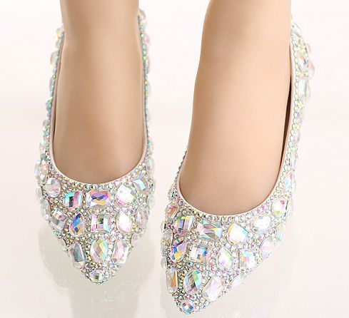 Silver rhinestones crystal flats shoes womens sexy point toes TG685 bling shinny AB stones ladies wedding party dance shoes