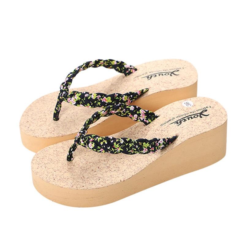 New Fashion slippers Women Flip flops Slippers Beach Sandals Platform Summer Shoes High heels Shoes pantufa chaussures femmes
