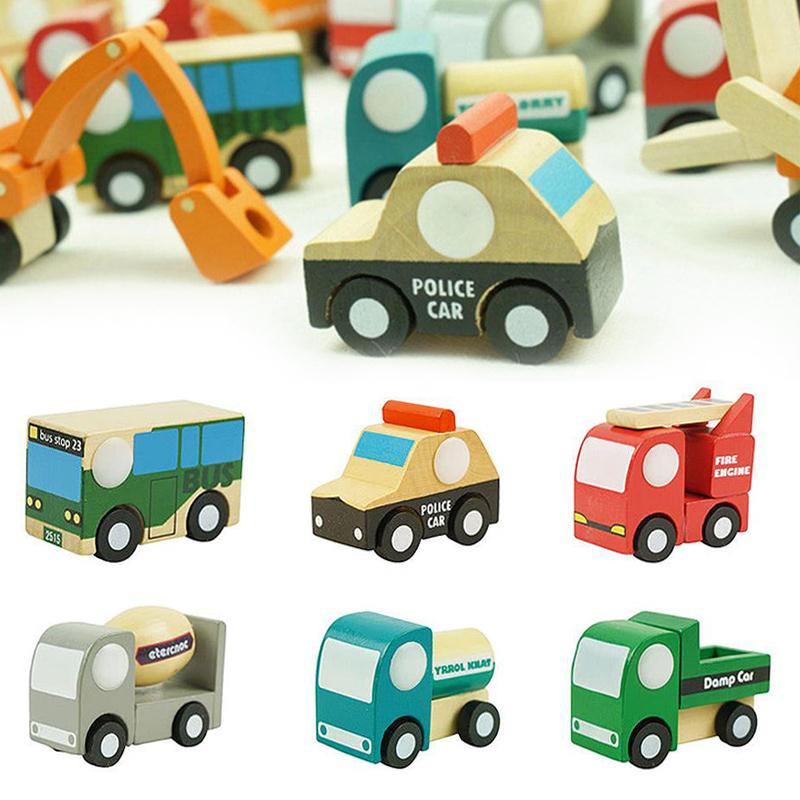 12pcs Baby Toy Wooden Car Toys For Children Mini Vehicles Toy Creative Wooden Car Model Baby Kids Educational Gift Toy 1 pcs mini around beads baby wooden toy educational children kids infant colorful mini cute cartoon elephant gift toy