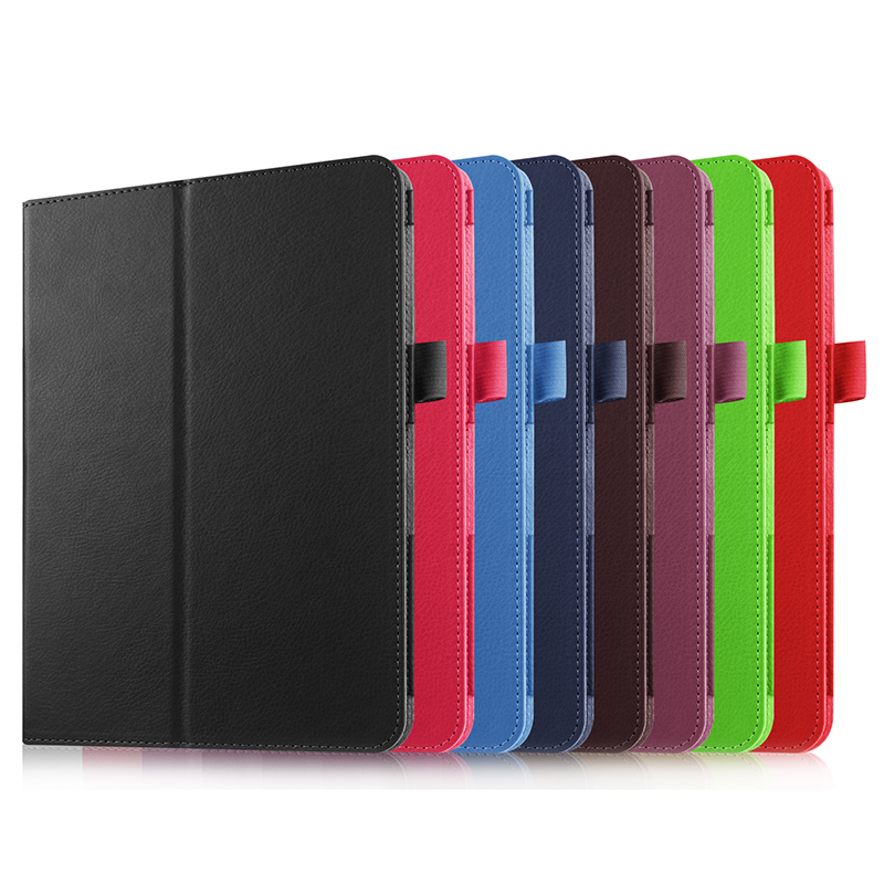 2-Folder Magnetic Stand Function Litchi Grain PU Leather Cases Cover For Samsung Galaxy Tab S 2 S2 8.0 SM-T710 T715 8 Tablet