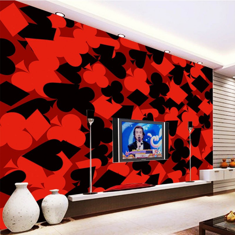 Wallpaper For Walls 3 D Beautiful Fashion Red Black Background Wall Bedroom Chess Card Room Decor Mural In Wallpapers From Home Improvement