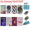 Color Painted Leather Case Flip Cover For Samsung Galaxy Tab E 8.0 T375S T377 Tablet funda cover case with soft tpu back  case