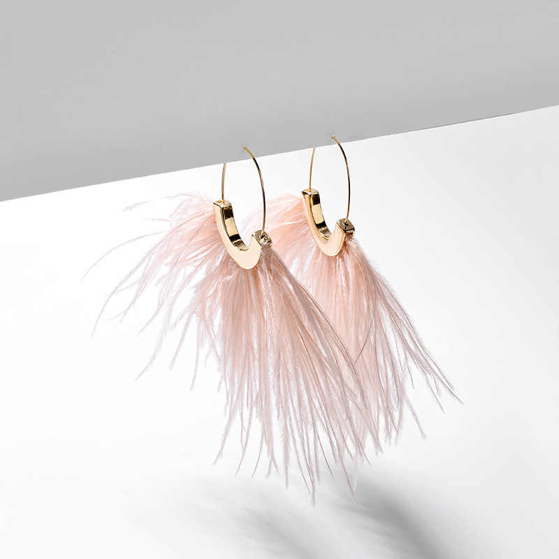 Artilay ostrich feather dangle earrings for women gold color drop earrings jewelry gift