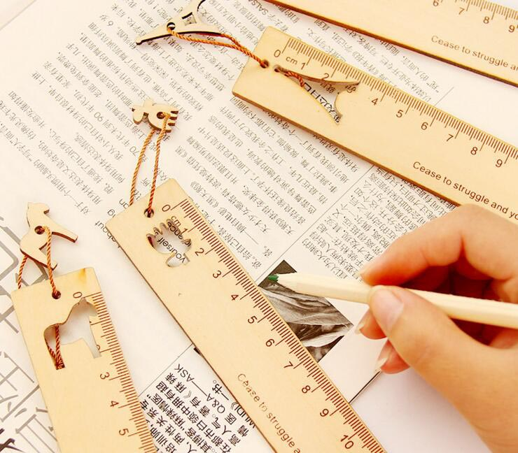 Free Ship!1lot=30pc! Wooden Cute / Creative / Bookmark Ruler/ Pendant /student Safety Ruler