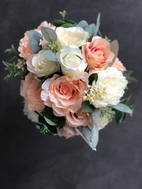 Bouquet de mariée blush pivoines, roses d'ivoire, Bouquet de mariage rustique, fleurs de mariage en soie, réel à toucher pivoines Bouquet de mariée