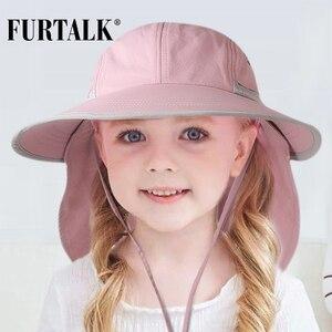 Image 2 - FURTALK dzieci kapelusz na lato dziewczyny kapelusz przeciwsłoneczny dla chłopców z klapą na szyję ochrona UV Safari kapelusz dziecko dziecko lato czapka podróżna 2 12 lat