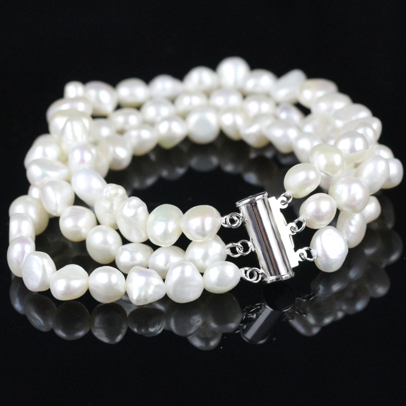White Pearl Bracelet Charms Baroque Freshwater Multistrand Pearl Chains China Fashion Jewelry Gifts Wholesale