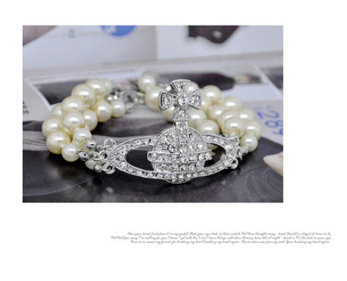 free shipping wholesale trendy jewelry luxury Saturn ORB three pearl bracelet for women gift