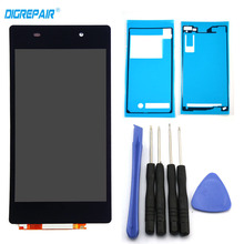 For Sony Xperia Z2 L50W D6502 D6503 LCD Display Digitizer Touch Screen with adhesive + Tools replacement part , Black