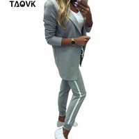 TAOVK Women's Suits Turn down Collar Jacket White Striped Pant two Pieces Set Pant Suits woman's sport costumes Feminine clothes