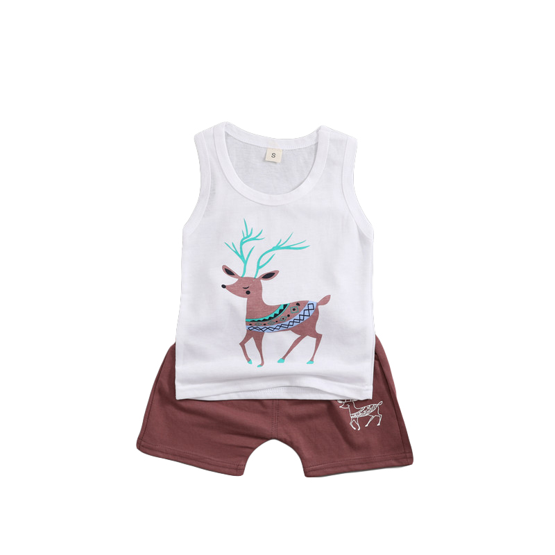 2018 Summer Baby Clothes Set Boy Girl Cartoon Deer White Vest + Shorts Casual Suit Children Outfits Sports Clothes Set
