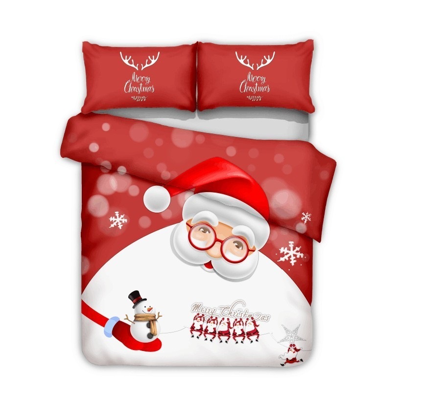 Christamas Home Textile Bedding Sets Santa Claus And Snowman Design Adult Set luxury duvet cover Pillowcase