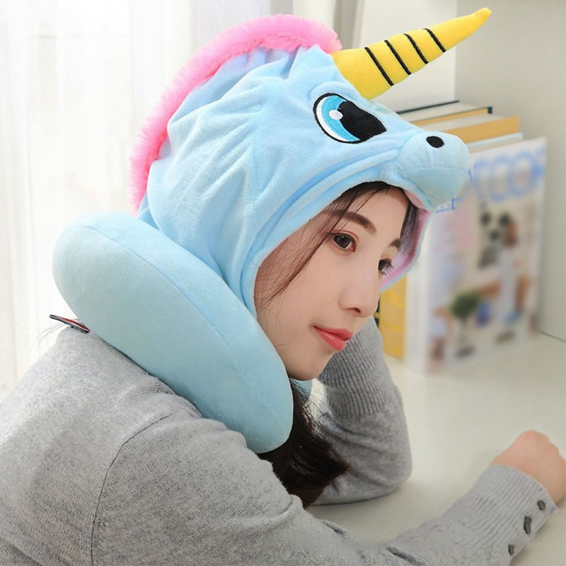 Travel Pillow Cartoon Neck Pillow Office Airplane Hooded Neck Pillow Cushion For Sleep Outdoor Travel Pillow