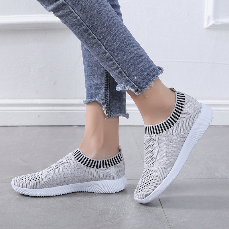 Plardin New Women Sneaker Stretch Knitting Shoes Spring Flats Mesh Breathable Casual Sock Shoes Female Drop Shopping Plus Size