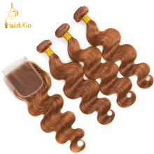 HairUGo Hair Pre-colored Brazilian Body Wave Bundles With Closure Human Hair  Lace Closure 3 Bundles Non Remy Hair  Extensions