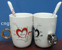 2pcs mug +2pcs spoon/set porcelain lovers mug crystal 2 carat diamond ring couple cup with spoons wedding valentines gift