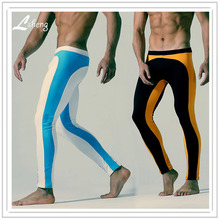 1pcs Fashion Spell Color Men Long Johns Clothes Male Slim Hip Leggings Tight Pants Men Warm Pants Man Body Shaper Long Underwear