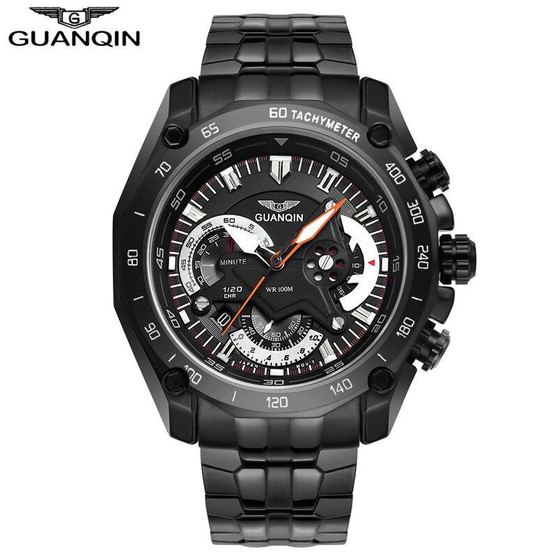 Original GUANQIN Watch Men saat erkekler Quartz Watch Mens Watches Top Brand Luxury Luminous Waterproof Stainless Steel