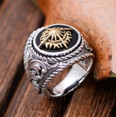 Argent 925 bijoux anneaux bohème anneaux pour homme grand anneau 22mm
