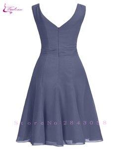 Image 2 - Waulizane 우아한 쉬폰 a 라인 댄스 파티 드레스 지퍼 민소매 공식 드레스 16 색상 사용 가능한 세관 만든 일반 슬리브