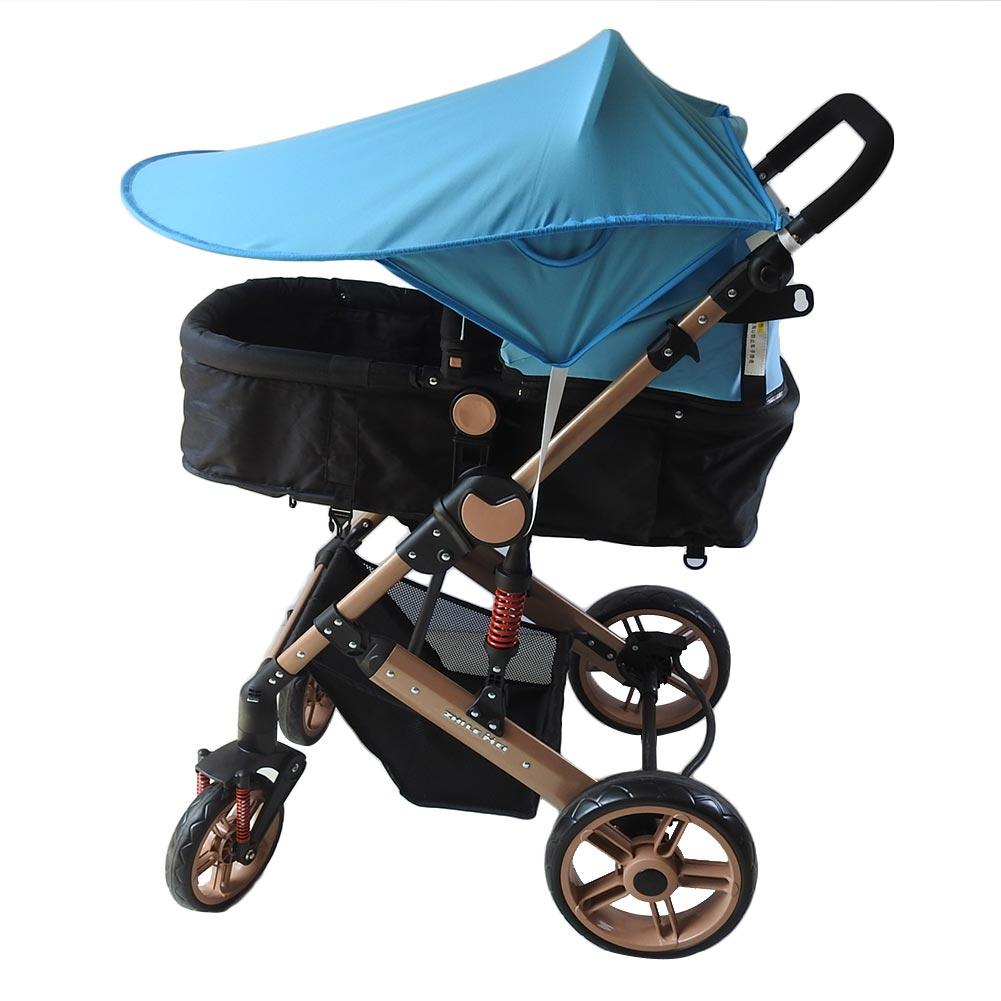 Baby Anti-UV Stroller Cover Windproof Rainproof Sun Protection Folding Umbrella Awning Shelter With Pocket Universal Accessories