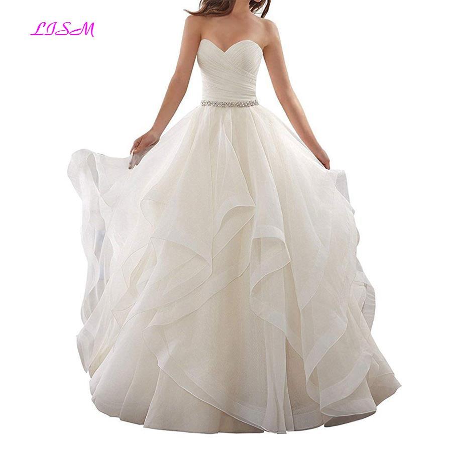 Organza Ruffles Ball Gown Wedding Dresses Sweetheart