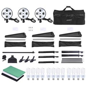 Image 5 - Andoer набор для фотостудии 12 Светодиодный 45 Вт, светильник для фотосъемки, комплект для фотосъемки, аксессуары для камеры и фотографии, 3 светильник, подставка, 3 софтбокса для фотосъемки