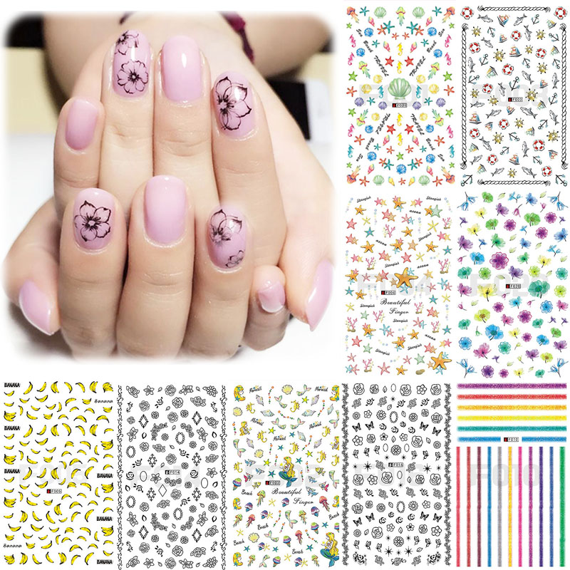 LNRRABC Sale Nail Art Sticker 3D Beauty Floral Diverse Water Transfer Stickers Decoration Decals Tips Delicate