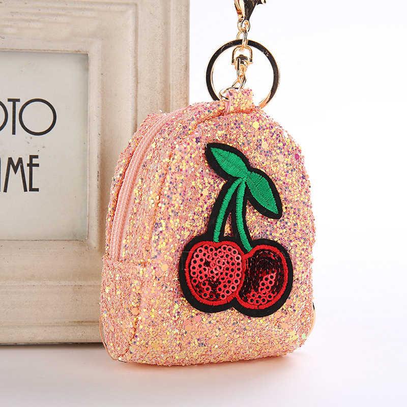 Bolsa de moedas de lantejoulas de cereja chaveiro bolsa de moedas meninas pequena bolsa de frutas mini bolsa de moedas bolsa de moedas
