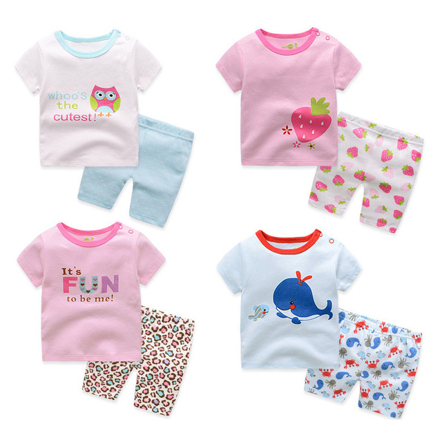 25f10574858 2018 Summer Baby s Sets Cartoon Infant Outfit 2Pcs Cotton Short Sleeve T- shirts+Shorts Suit Newborn Clothing Baby Girl Clothes