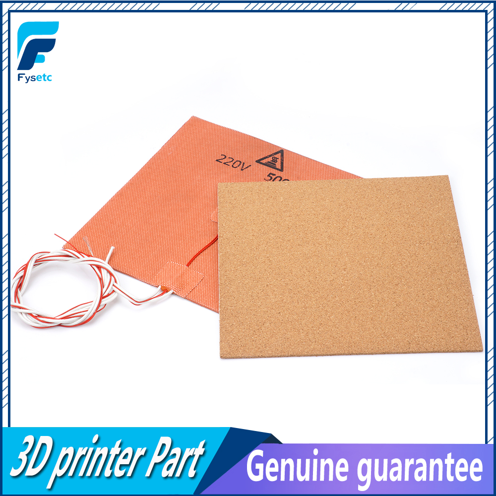 купить USA Material! 220V 500W Silicone Heater Pad Mat 200X200mm + Adhesive Cork Sheets 200*200*3mm Heated Bed Hot Plate For Prusa i3 по цене 1587.68 рублей
