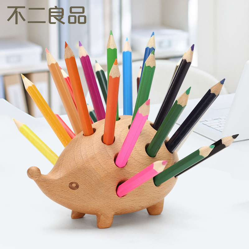 Solid Wood Multi-function Pen Holder Children Cartoon Cute Pen Box Creative Fashion Student Stationery Desk Accessories