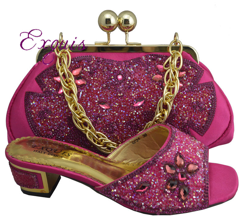 ФОТО Hot selling specialty Italy design matching shoes and bag with shine stone.wedding shoes wiht bag for retail and wholesale GF34
