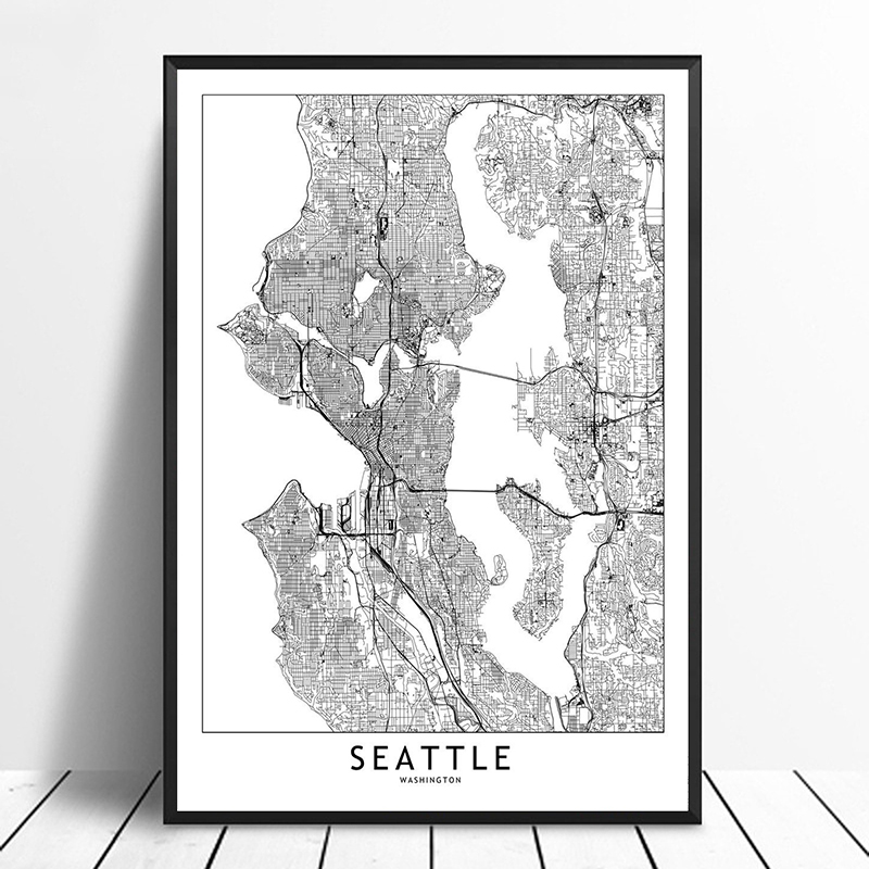Seattle Black White Custom World City Map Posters Prints Nordic Style Wall Art Pictures Home Decor Canvas Painting image