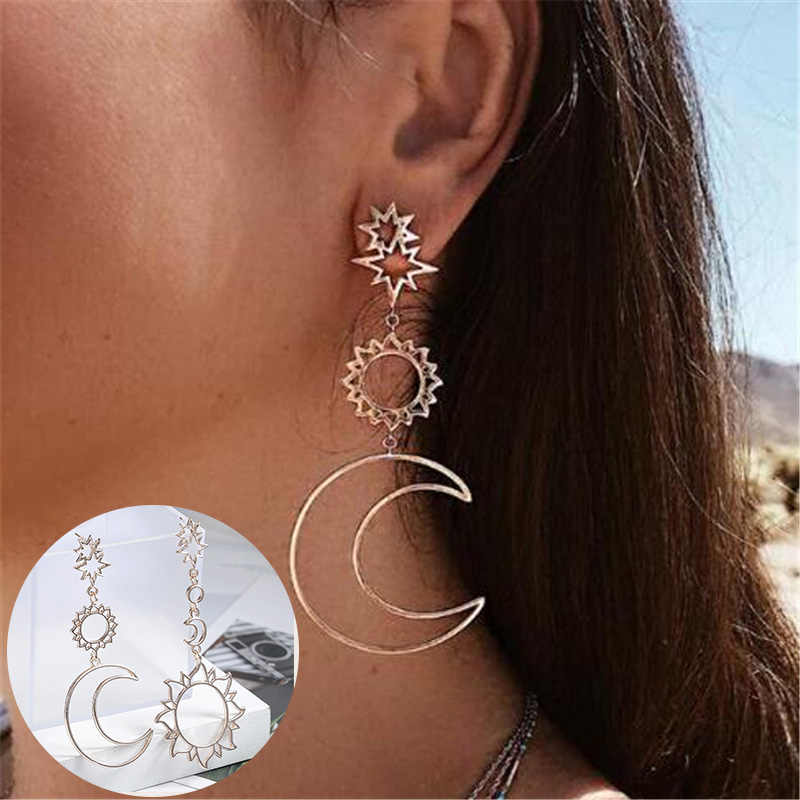 Bohemia Rose Gold Geometry Earrings Women Sun Moon Statement Big Drop Earing Indian Jewelry Oorbellen Pendientes Mujer Bijoux