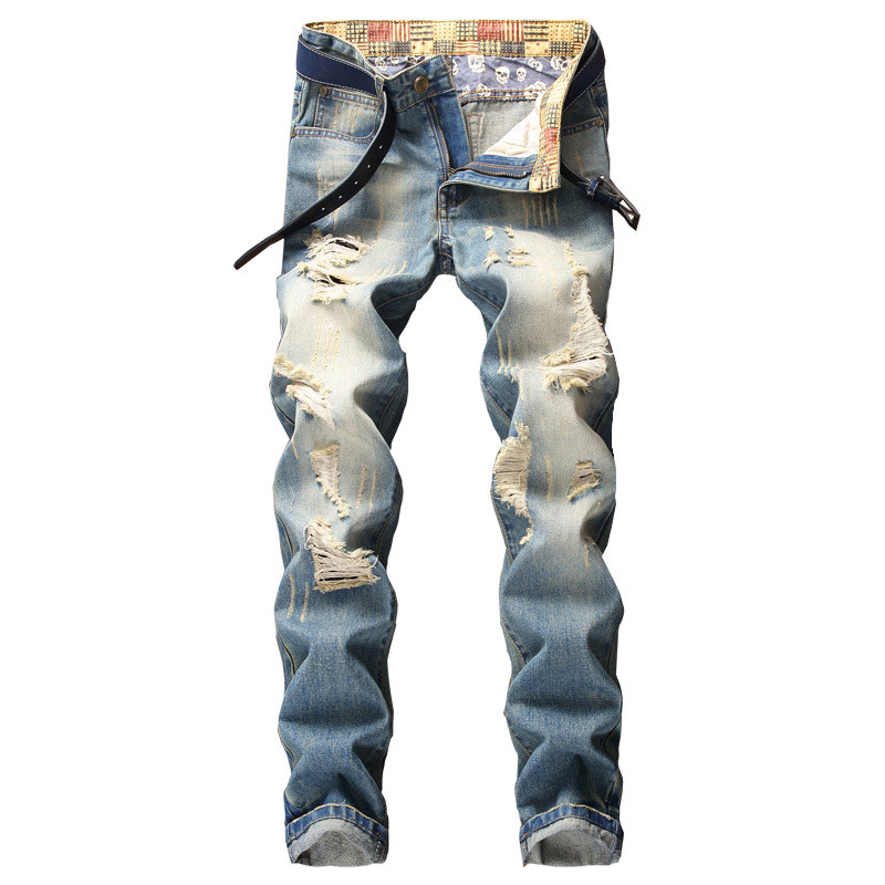 Newsosoo Fashion Men Ripped Jeans Straight Destroyed Denim Pants Washed Blue Distressed Jean Trousers With Holes Plus Size 28-40