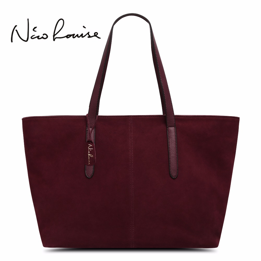 Nico Louise Women Real Split Suede Leather Top-handle BagsTote Bag Leisure Large Lady Casual Crossbody Shoulder Handbag nico louise women real split suede leather bucket bag lady leisure nubuck casual shoulder bags large hobo travelling handbag sac